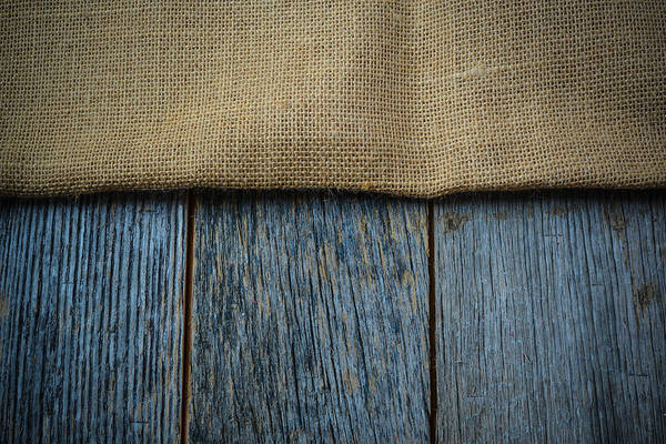 Burlap Texture On Wooden Table Background Poster
