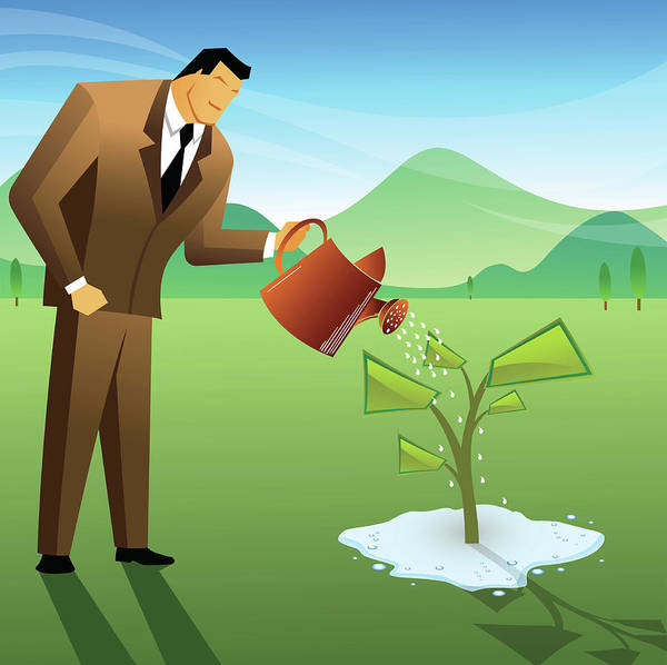 Businessman Watering A Money Plant Poster