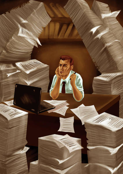 Businessman With Heap Of Papers Poster
