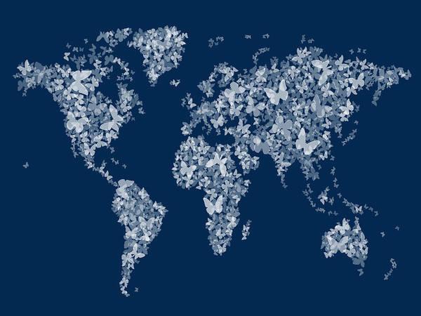 Butterflies Map Of The World Map Poster