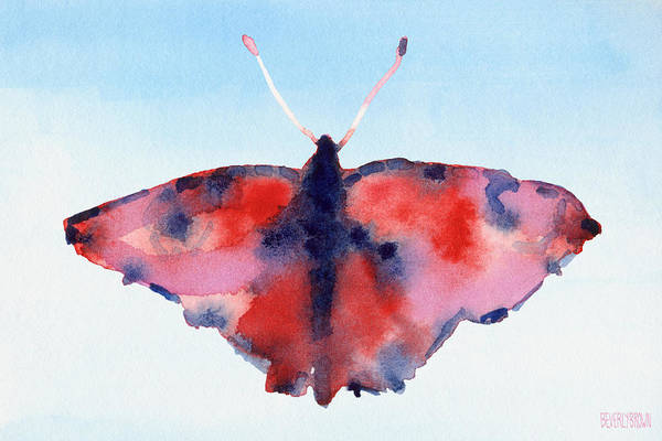 Butterfly Red And Blue Watercolor Painting Poster
