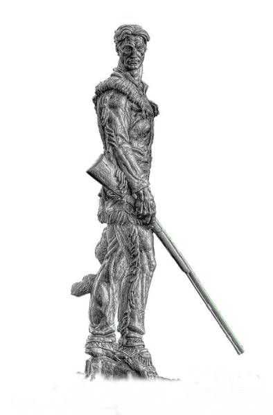 Bw Of Mountaineer Statue Poster