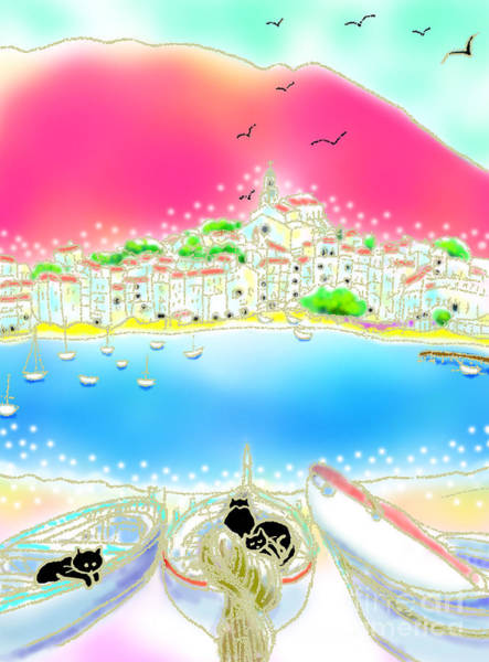 Poster featuring the digital art Cadaques Cats by Hisayo Ohta