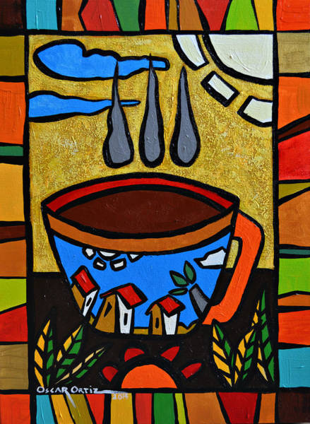 Poster featuring the painting Cafe Criollo  by Oscar Ortiz