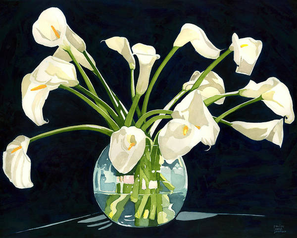 Calla Lilies In Vase Poster