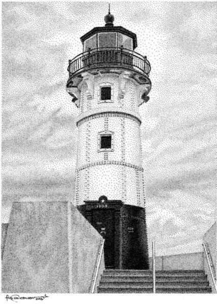 Poster featuring the drawing Canal Park Lighthouse by Rob Christensen