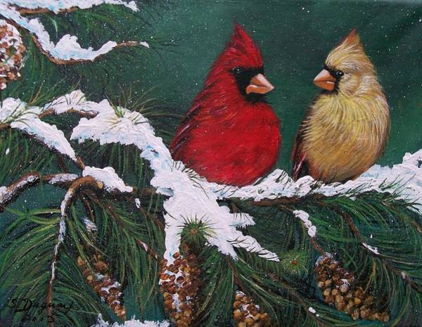 Cardinals In The Snow Poster