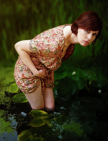Carly Amongst The Water Lillies Poster