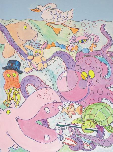 Cartoon Sea Creatures Poster