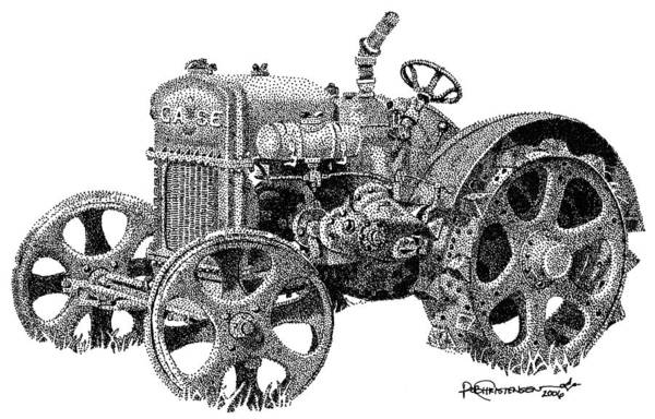 Poster featuring the drawing Case Tractor by Rob Christensen