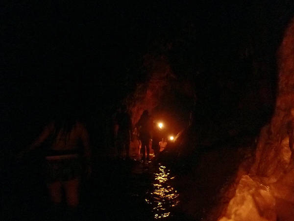 Caving With Candles And Cutoffs Poster