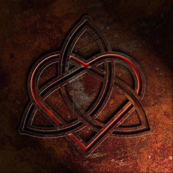 Poster featuring the digital art Celtic Knotwork Valentine Heart Rust Texture 1 by Brian Carson