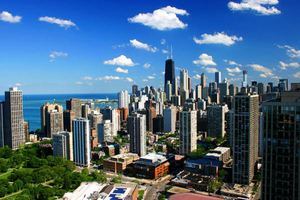 Chicago Buildings Skyline Clouds Poster