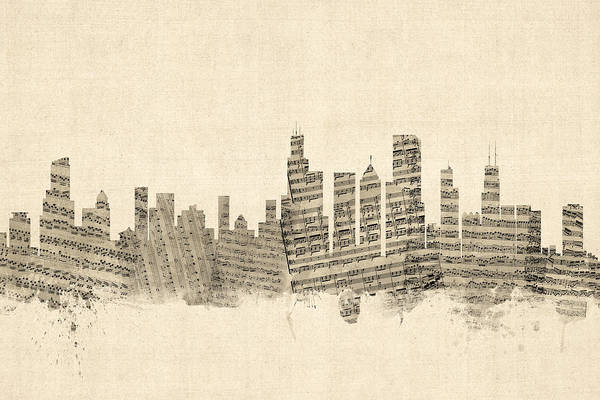 Chicago Illinois Skyline Sheet Music Cityscape Poster