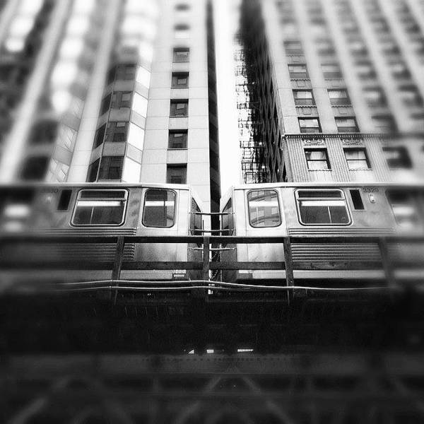 Chicago L Train In Black And White Poster
