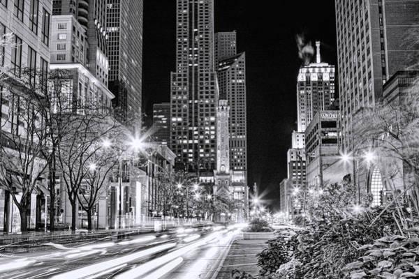 Chicago Michigan Avenue Light Streak Black And White Poster