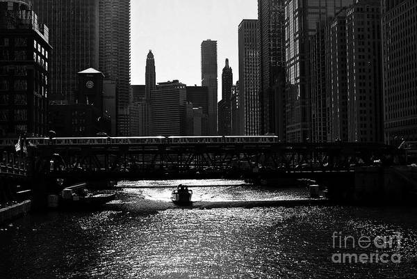 Chicago Morning Commute - Monochrome Poster