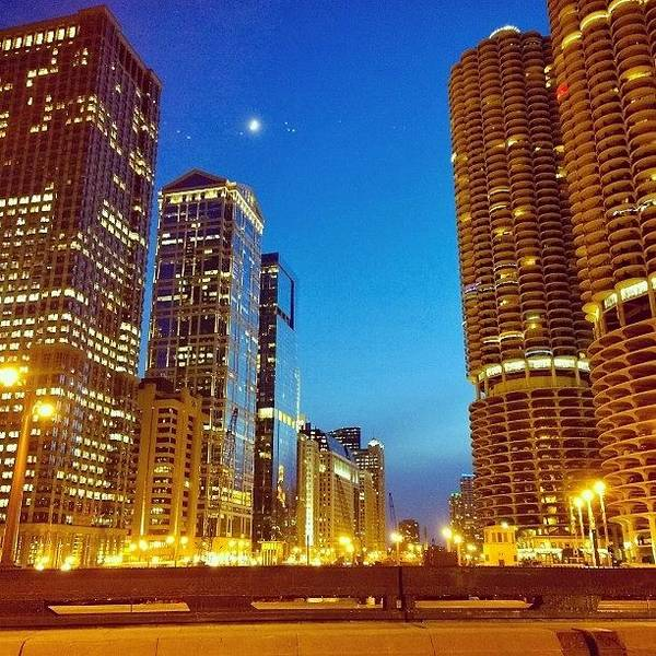 Chicago River Buildings At Night Taken Poster