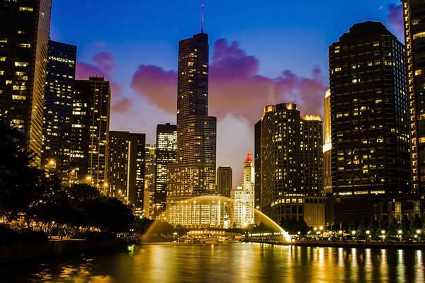 Chicago River Dusk Scene Poster