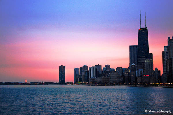 Chicago Skyline At Lake Michigan Poster