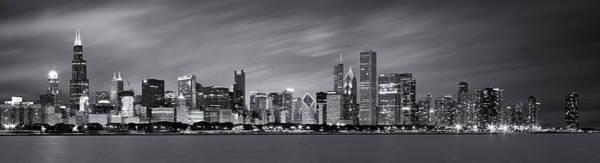 Chicago Skyline At Night Black And White Panoramic Poster