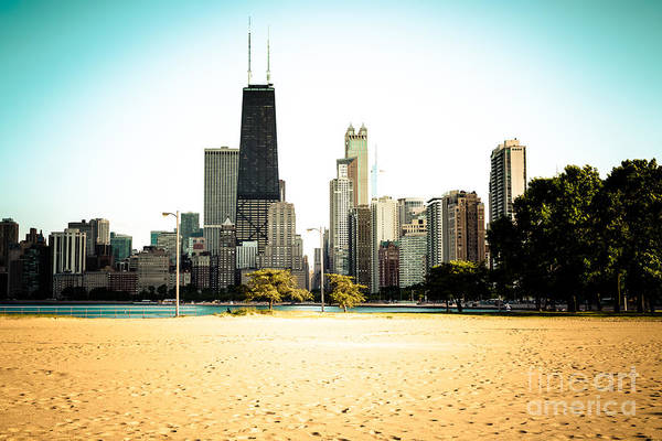 Chicago Skyline At North Avenue Beach Photo Poster