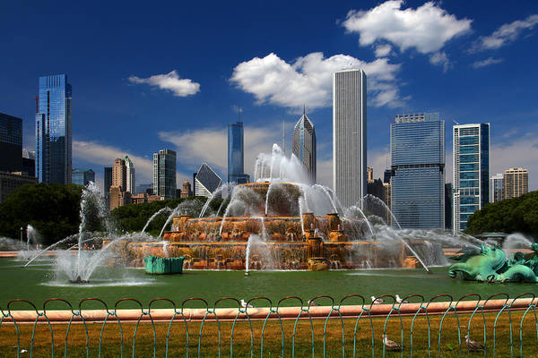 Chicago Skyline Grant Park Fountain Clouds Poster