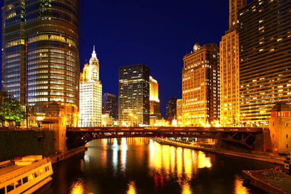 Chicago Skyline Night River Poster