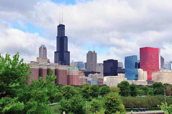 Chicago Skyline Over Park Poster