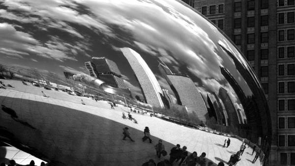 Chicago Skyline Reflected Bean Poster