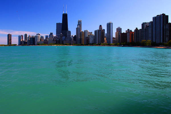 Chicago Skyline Teal Water Poster
