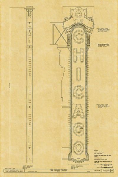 Chicago Theatre Blueprint Poster