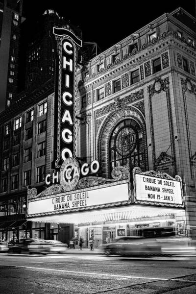 Chicago Theatre Marquee Sign At Night Black And White Poster