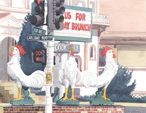 Chickens At Twin Inns Carlsbad Poster
