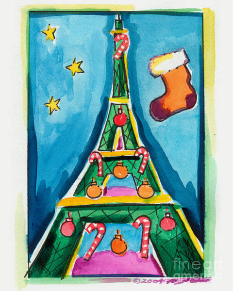 Christmas Eiffel Tower Painting Poster
