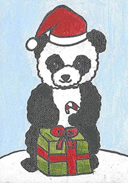 Poster featuring the painting Christmas Panda by Fred Hanna