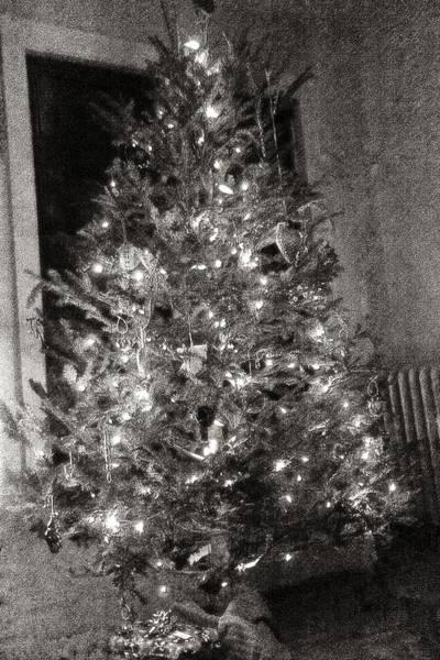 Christmas Tree Memories Monochrome Poster