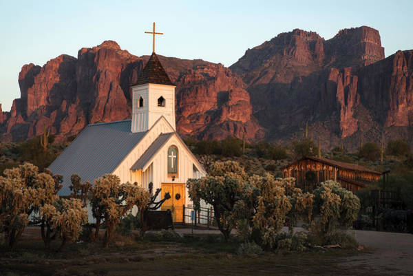 Church At The Superstition Mountains Arizona Poster