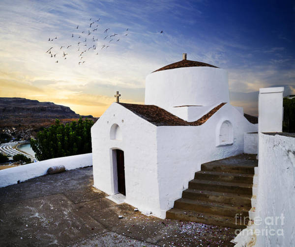 Church In Lindos Rhodes Poster