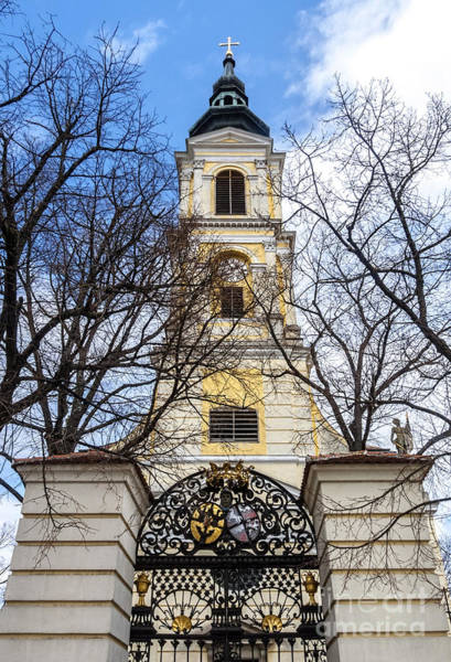 Church Tower With Wrought Iron Gate  Grossweikersdorf Austria Poster
