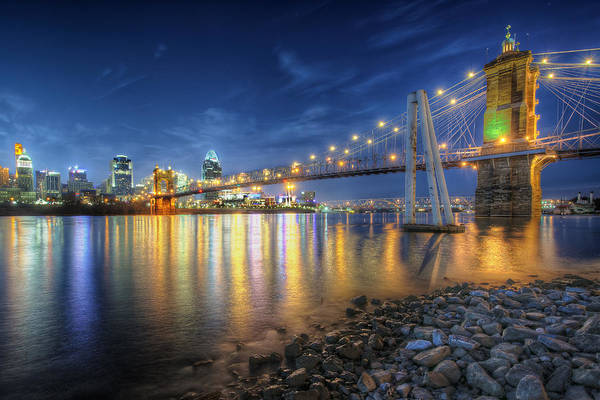 Cincinnati Skyline And Bridge At Night Poster