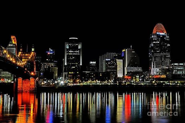 Poster featuring the photograph Cincinnati Skyline Dreams 3 by Mel Steinhauer