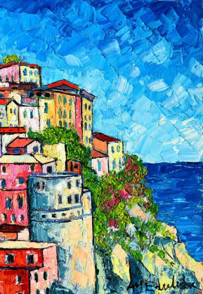 Cinque Terre Italy Manarola Painting Detail 3 Poster