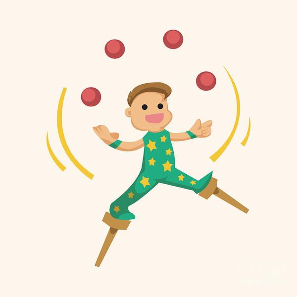 Circus Theme Juggler Elements Poster