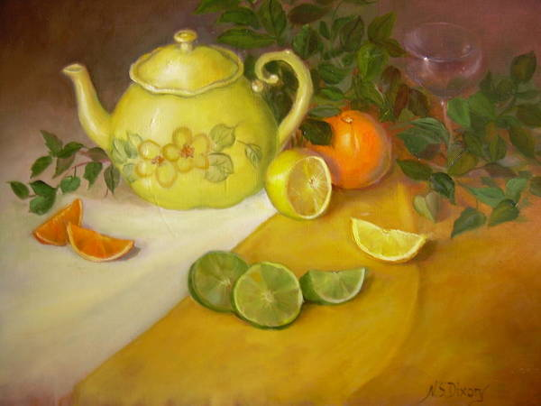 Poster featuring the painting Citrus N Tea by Naomi Dixon