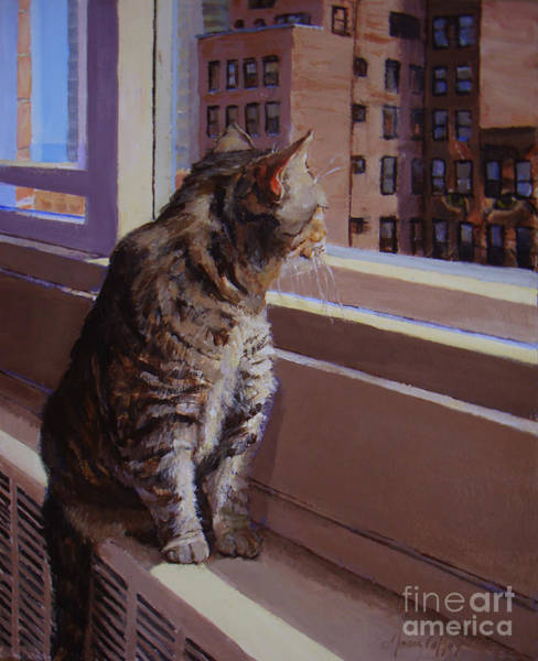 City Kitty Enjoys Her View Poster