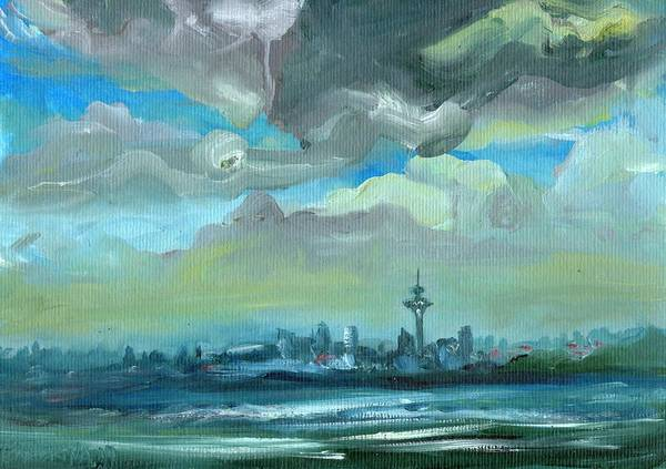 City Skyline Impressionist Painting Poster