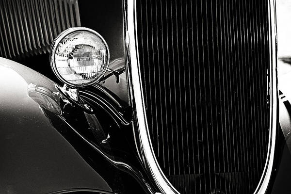 Classic Car Grille Black And White Poster