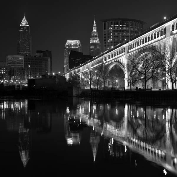 Cleveland Reflections In Black And White Poster