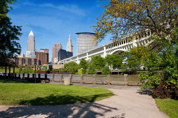 Cleveland Skyline From Riverbed Road Poster